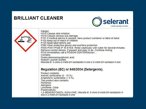 Example of detergent labelling according to Regulation (EC) 648/2004